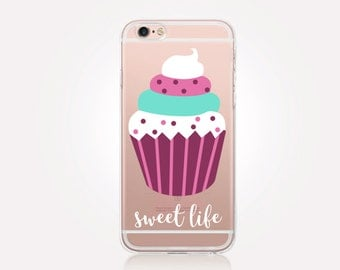 Cupcake Clear Phone Case - Clear Case - For iPhone 8, 8 Plus, X, iPhone 7 Plus, 7, SE, 5, 6S Plus, 6S,6 Plus, Samsung S8,S8 Plus,Transparent