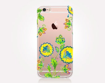 Floral Clear Phone Case - Clear Case - For iPhone 8, 8 Plus, X, iPhone 7 Plus, 7, SE, 5, 6S Plus, 6S,6 Plus, Samsung S8,S8 Plus,Transparent