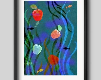 Under the water, Digital Illustration Download. Digital Download.