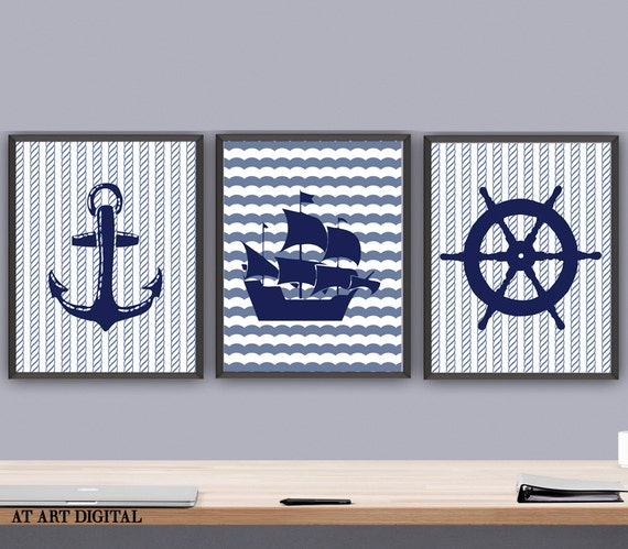 Set of 3 Prints Nautical Art Print Set Nautical Nursery Art
