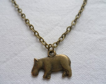 Hippo necklace,small hippo,hippo pendant,hippo jewellery,bronze hippo necklace, gift, animal jewelry,simple necklace,hippopotamus necklace