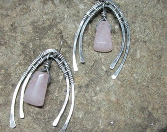 BO - 135 Silver Earring 925 and rose quartz free transport