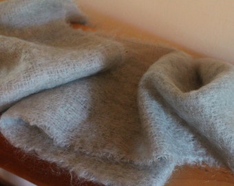 70s powder blue woven mohair and wool fringed scarf made in Scotland