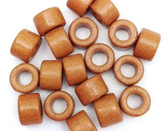 Cylindrical, light brown, 6 mm, 20 pieces, ceramic beads 20 pottery, Greek, greek ceramic beads, Brown