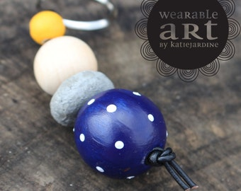 keyring - Hand painted beads - navy white spots - cement beads - mustard - It mustard been love