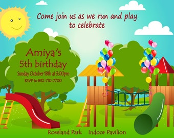 Kids Park Invitation, park invitation, picnic invitation, Playground Birthday Invitation, Park Play Invitation, Playground