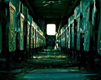 Streetcar, Cross processing, Seats, Train car, Abandoned, Haunted, Toledo, Ohio, Maumee River, 43609