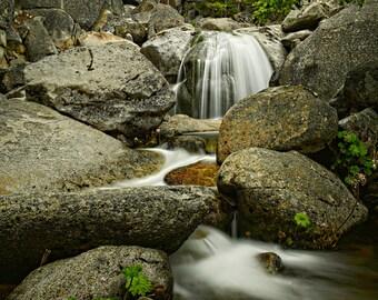 Waterfall, Rocks, Water, California, Yosemite, Green, Smoke, Blur