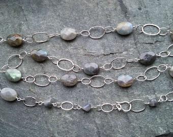Labradorite necklace, long labradorite and silver necklace, silver necklace