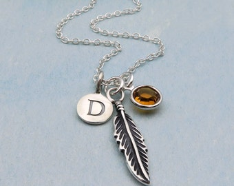 Sterling Silver Feather Necklace, Personalized Feather, Sterling Feather Pendant, Initial Birthstone, Custom Birthstone Necklace
