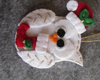 Felt Christmas ornament; Christmas Owl ornament; Felt ornament; Handmade; Christmas gift; Stocking stuffers.