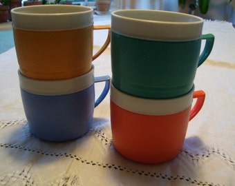 Thermoware Sunfrost Mugs Set of 4 Vintage