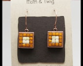 Mosaic Earrings, Moroccan Ceramic Tiles, Dangle Earrings, Copper Earrings