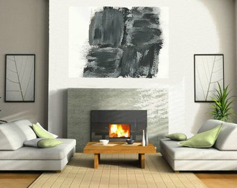 Black and White Giant painting Large Abstract Acrylic Painting Minimalist Art, Abstract Painting Canvas, Modern Contemporary home decor Art