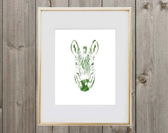 Green Zebra Digital Print 8x10 Instant Download Wall Art