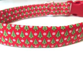 Christmas Trees Dog Collar - Christmas Dog Collar - Red Dog Collar - Handmade Dog Collar