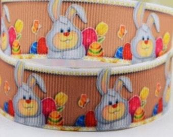 Eggcited Easter Bunny Grosgrain Ribbon