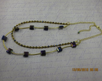 Necklace, Purple and Amber Multi-Strand Polished Glass Necklace. Glamorous and Elegant in design.