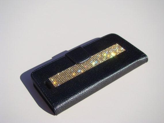 iPhone 8 / iPhone 7 Gold Topaz Diamond Rhinestone Crystals on Black Wallet Case. Velvet/Silk Pouch bag Included, .