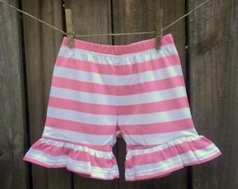 Pink Striped Ruffle Shorts