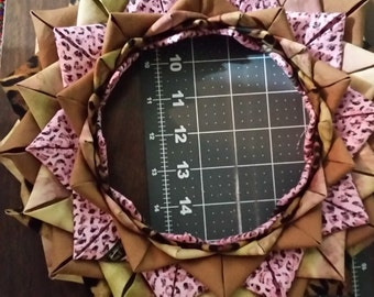 pink and cheeta print quilted wreath