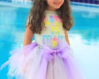 Tutu Size 7/8 lavander and purple tutu skirt, purple bow, uneven hem, puffy tutu, girl's tutu, handmade tutu