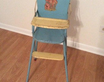 Vintage Tall Metal Baby Doll Toy High Chair 1950s Big Doll Furniture Girlu0027s  Toy Blue Light