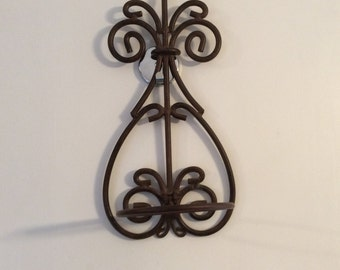 Ornate Metal plant stand holder wall mount plant holder Spanish style filigree iron