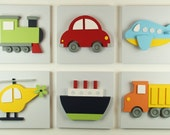Set of 3 Wood Kids Transportation Wall Art, 3D Wood Transportation Wall Decor for Baby Nursery and Kids Rooms