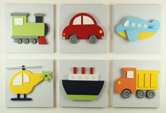 Nursery Wall Decor Transportation : Set of wood kids transportation wall art d