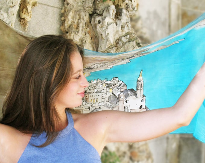 Silk scarf elegant hand-painted