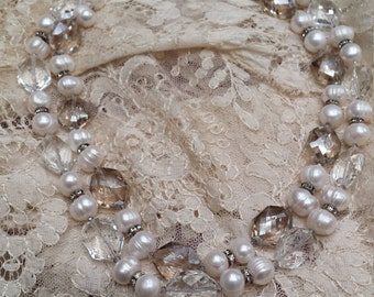 Two strand fresh water pearl and faceted crystal