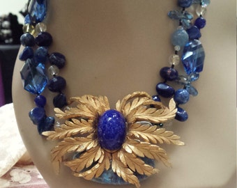 Vintage brooch necklace two strands of lapiz and blue faceted crystal