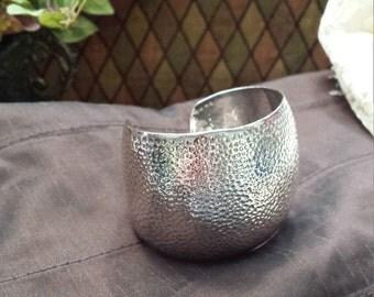Sterling silver hammered vintage cuff bracelet