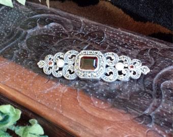 Sterling silver vintage garnet, marcasite and pearl brooch