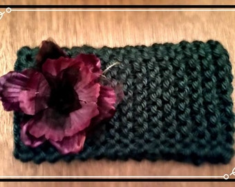 Hand Knit Headband Ear Warmer Deep Teal Adorned with Silk Flower