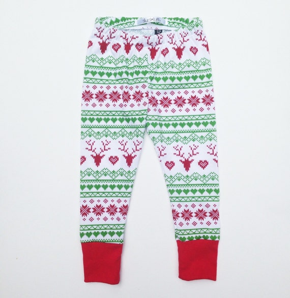 Deer and Heart Holiday Leggings Baby Leggings Baby by ...