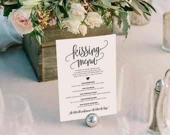 Kissing Menu Printable, Wedding Kissing Menu, Wedding Game, Wedding Printable, Wedding Template, PDF Instant Download #BPB203_48