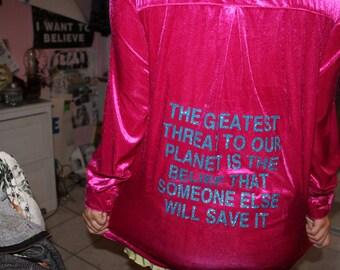 Medium/Large Upcycled Environmental Pink Long Sleeved Shirt