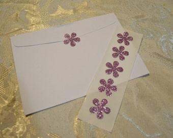 "Light Pink Glitter Flower Seals - Shimmery Pink Glitter Funky Flower Sticker Seals  - 1"" x 25"