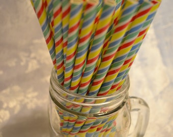 Set of 25 Multicolored Summer Carnival Fiesta Paper Straws. Perfect for Events and Parties