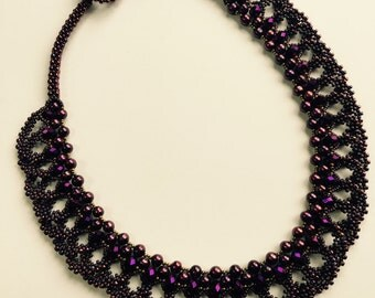 Purple Necklace- Burgundy Necklace- Beaded Collar- Pearl Necklace- Crystal Necklace- Free Shipping US only-