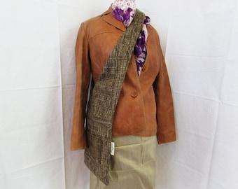 Brown Tweed Sling Bag
