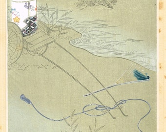 "Japanese antique woodblock print, Ueno Tameji, ""The wind through pine trees"""