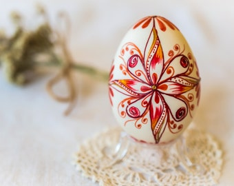 Wax Embossed Easter Egg, Duck Easter Egg, Traditional Design Slavic Easter Egg, Pysanky, Pysanky Eggs, Collectible, Easter Decoration