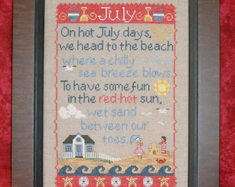 JULY SAMPLER; Pattern for Counted Cross Stitch; Instant PDF Download; Summer, Seashore, Beach