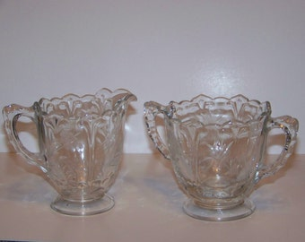 Vintage Clear Etched Glass Sugar and Creamer