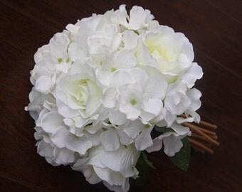 White Wedding Bouquet with White Rose and White hydrangea Silk  Artificial Bouquets flower arrangement diy