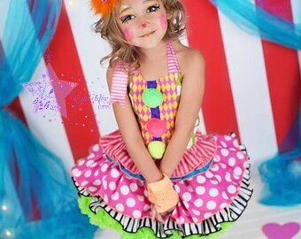 Cute clown costume- clown- costume -clown costume- birthday- dress- party dress- mad hatter-photo prop