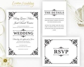 Formal wedding invitation kits printed on shimmer cardstock | Black and white wedding invites | Personalised wedding invitation cards